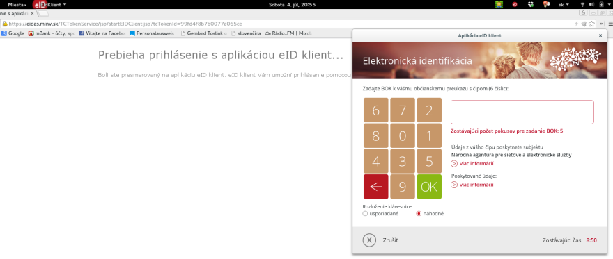 Screenshot - eID on Gnome 3